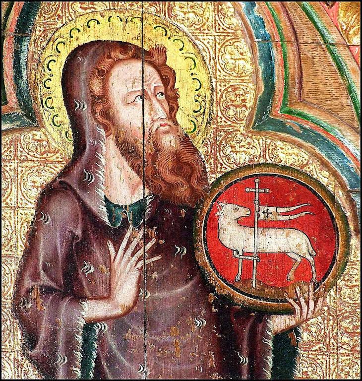 São João Batista precedeu a Cristo com 'o espírito e a virtude de Elias'. Pintura em St-Mary-Thornham-Parva, Suffolk, Inglaterra.