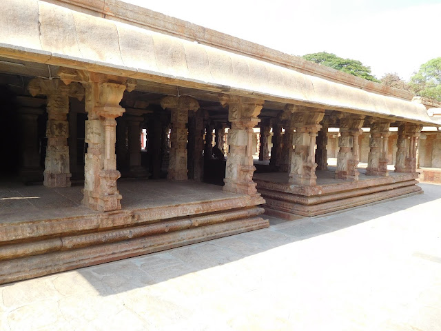 The mandapa or assembly hall of the Bhoga Nandeeshwara Temple, Karnataka