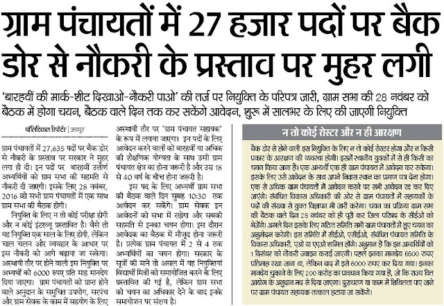 Rajasthan 27635 Gram Panchayat Sahayak 2016