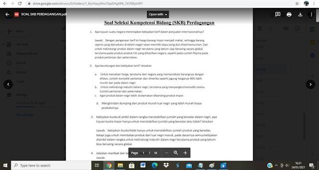 Contoh soal tes P3K Bidang Perdagangan dan Jawabannya