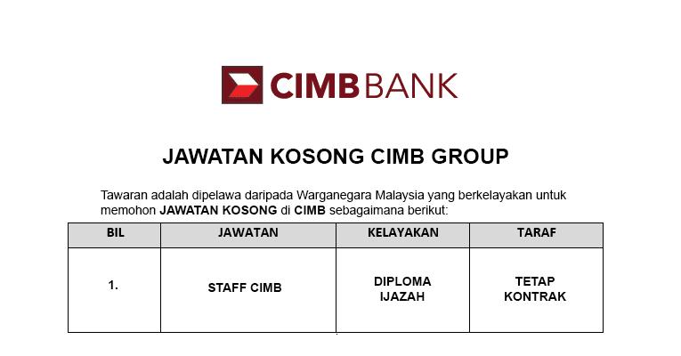 Jawatan Kosong di CIMB Group [ Pelbagai Jawatan Dibuka Permohonan ]
