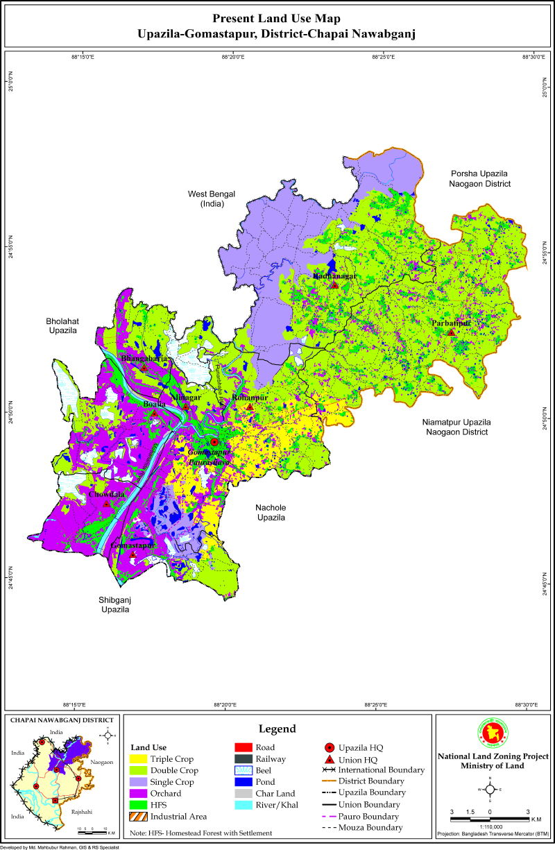 Gomostapur Upazila Mouza Map Nawabganj District Bangladesh