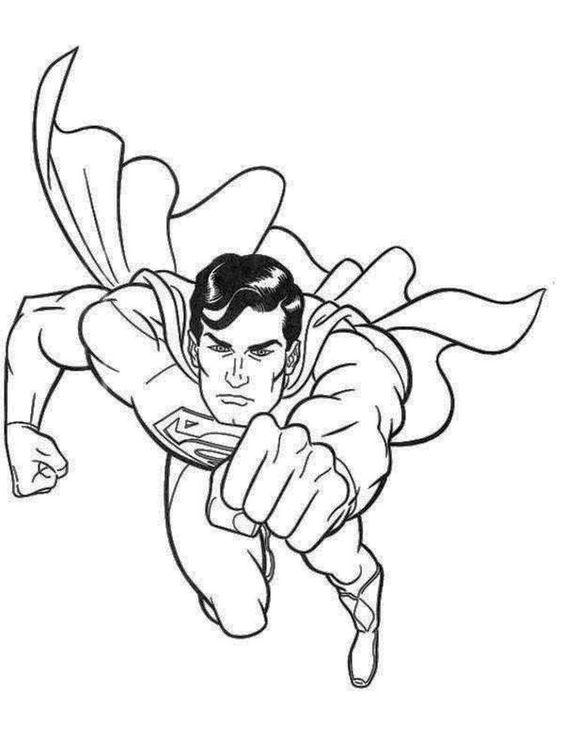 Tranh cho bé tô màu siêu nhân đang bay