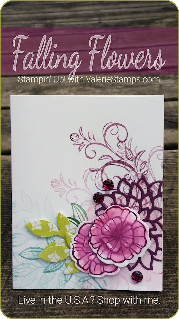 Valerie Stamps Stampin Up Falling Flowers card made with scraps watercolor beautiful gems colorful any occassio