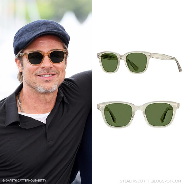 Brad Pitt with square frame Garrett Leight sunglasses at Cannes Film Festival 2019