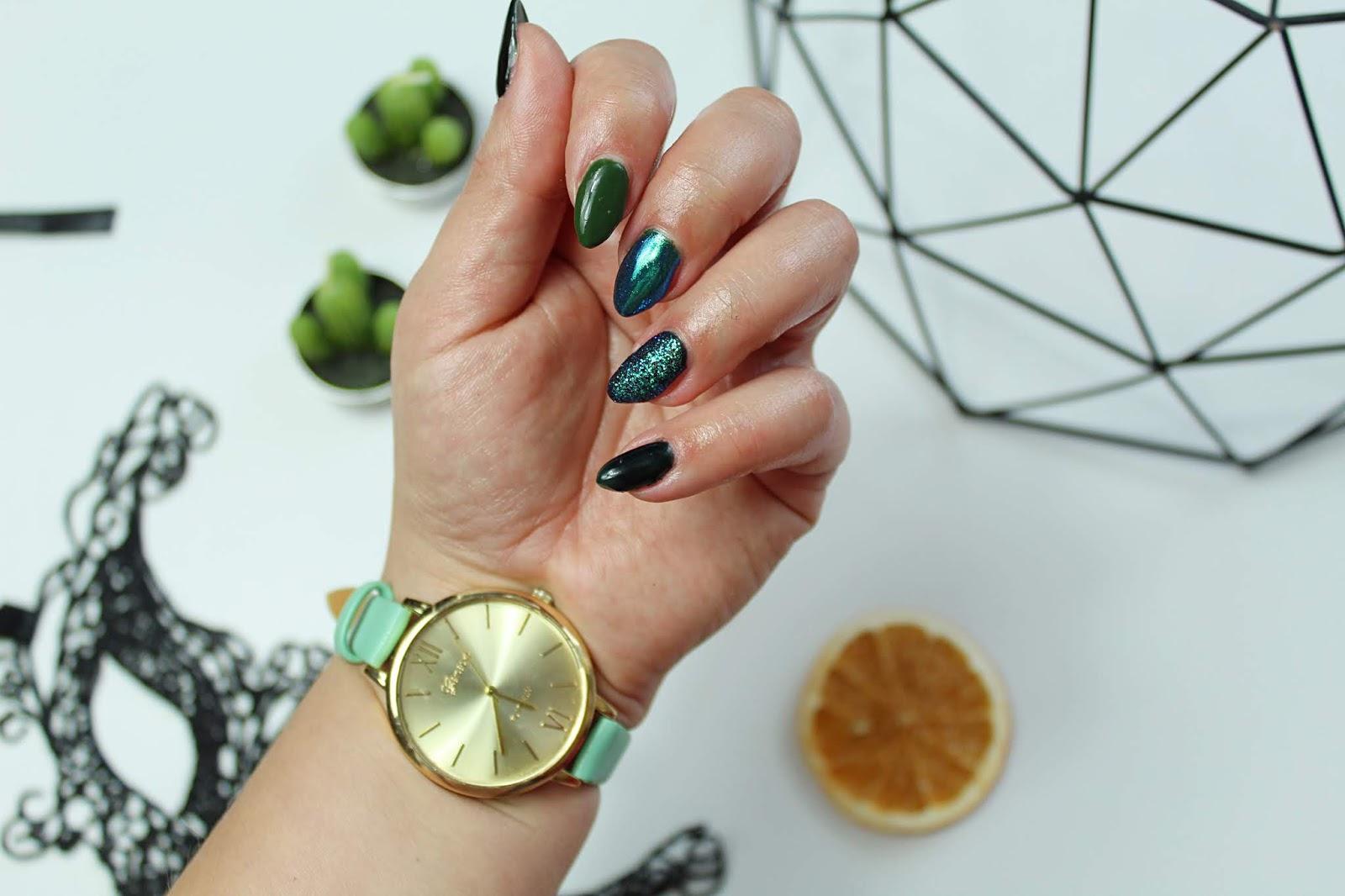 lakiery hybrydowe nails company wild women i military&army, pyłki rainbow no1 i no3