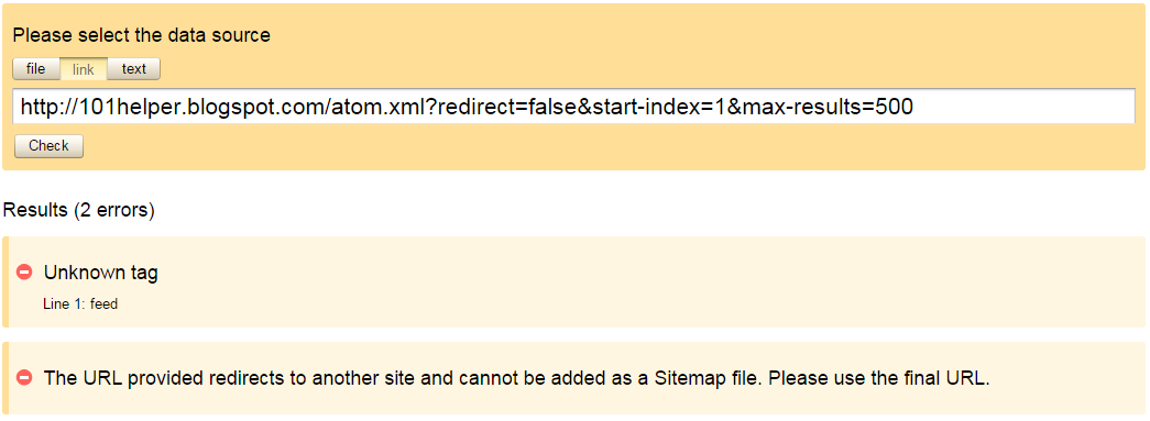 Error while submitting blogger sitemap to Yandex | 101helper