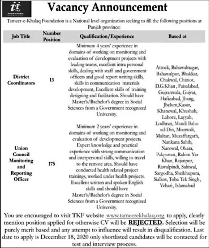JOBS | Tameer e Khalaq Foundation