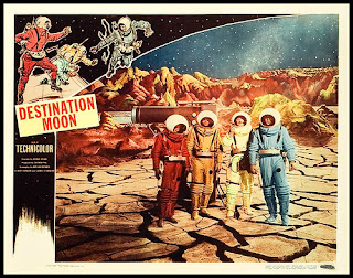 Lobby card for Destination Moon (1950), depicting a cracked lunar surface