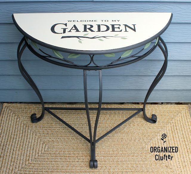 Garage Sale Demilune Style Table Upcycle #oldsignstencils #stencil #demilunetable #furnitureupcycle #fusionmineralpaint #garagesalefind