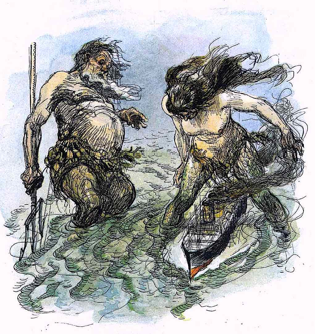 a Heinrich Kley color illustration of giants playing with ships