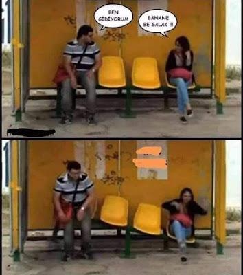 komik paylaşımlar, karikatür, kadın, erkek, komedi dünyası, bank, otobüs durağı,