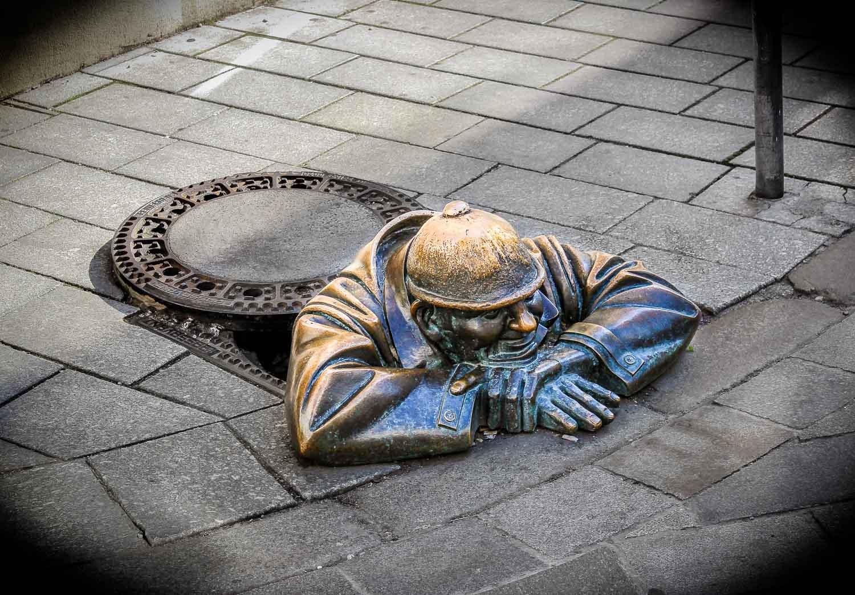 Bratislava Ground Sculpture Cumil Man At Work