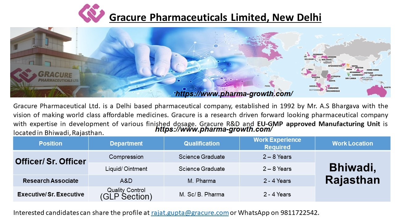 Gracure Pharmaceuticals Ltd – Urgently Opening for ProGracure Pharmaceuticals Ltd – Urgently Opening for Production, A&D, Quality Control  | Apply Nowduction, A&D, Quality Control  | Apply Now