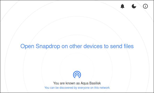 موقع Snapdrop متصل بجهاز كمبيوتر واحد