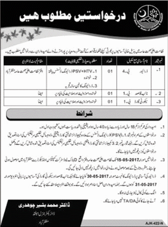 jobs in Health Department AJK Azad Kashmir 29 Apr 2017