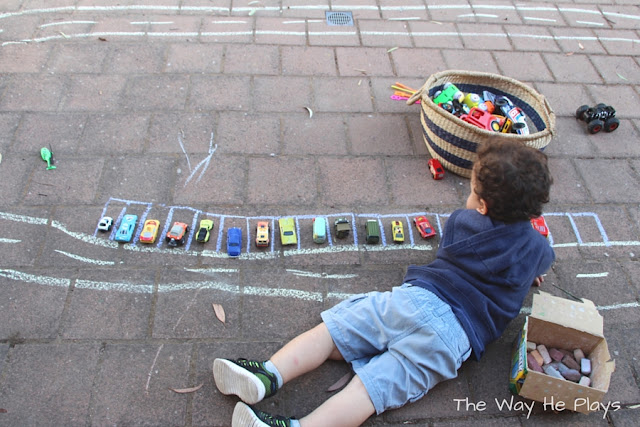 Chalk car track with parking spaces