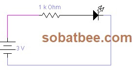 Rangkaian LED dengan sebuah resistor