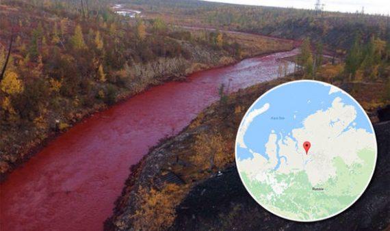 Warna Sungai Siberia Berubah Menjadi Merah Darah