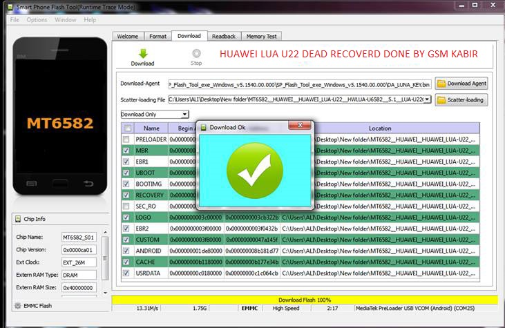 Huawei Lua U22 MT6582 100% Tested Flash File Download Dead
