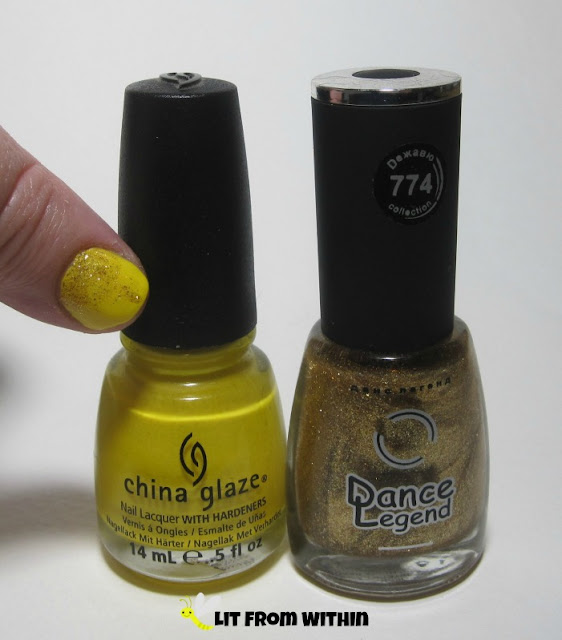 Bottle shot: China Glaze Sunshine Pop, and Dance Legend 774.