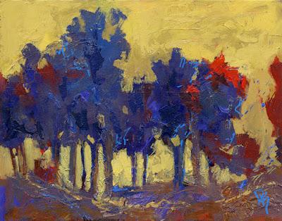 art abstract tree acrylic mixed media blue