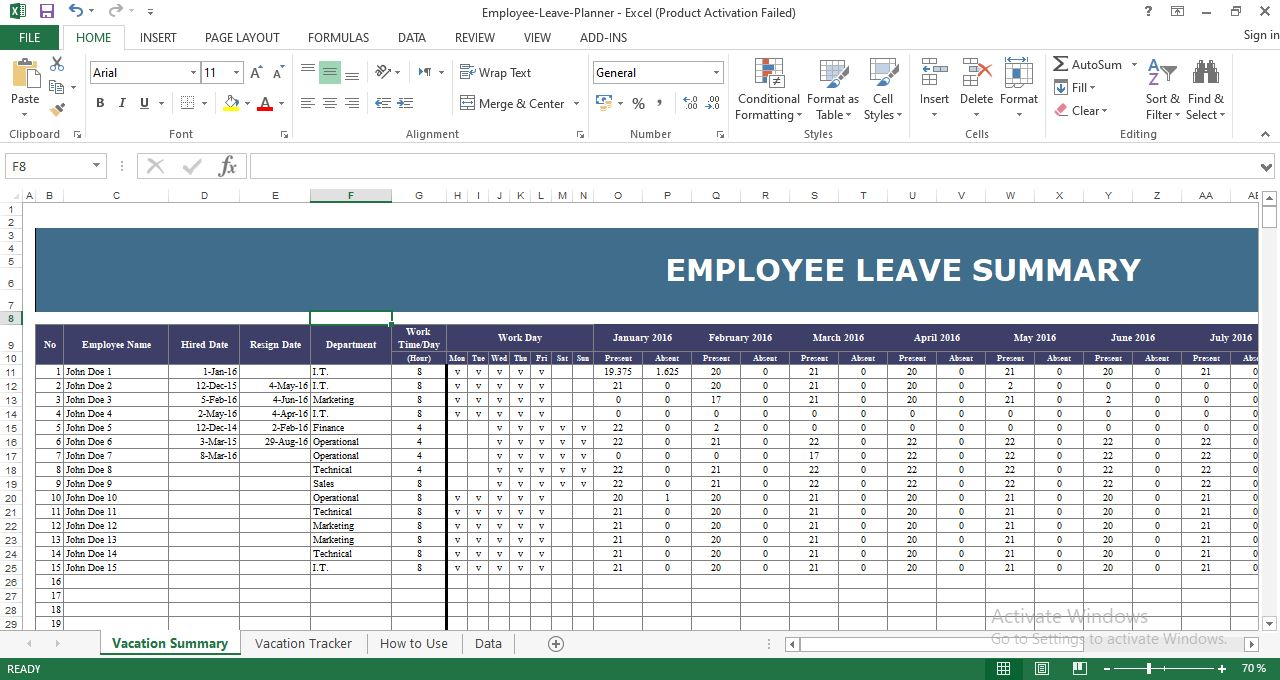 Employee leave Planner Excel Template