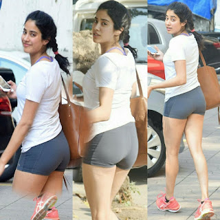 Jhanvi Kapoor from her fitness class in tight shining shorts