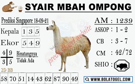 Syair Mbah Ompong SGP Sabtu 18 September 2021