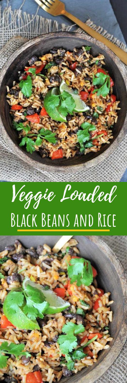 VEGGIE LOADED BLACK BEANS AND RICE #vegetarian #dinner