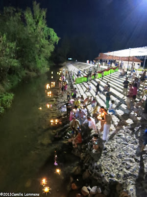 The place where the Krathongs are put in the river