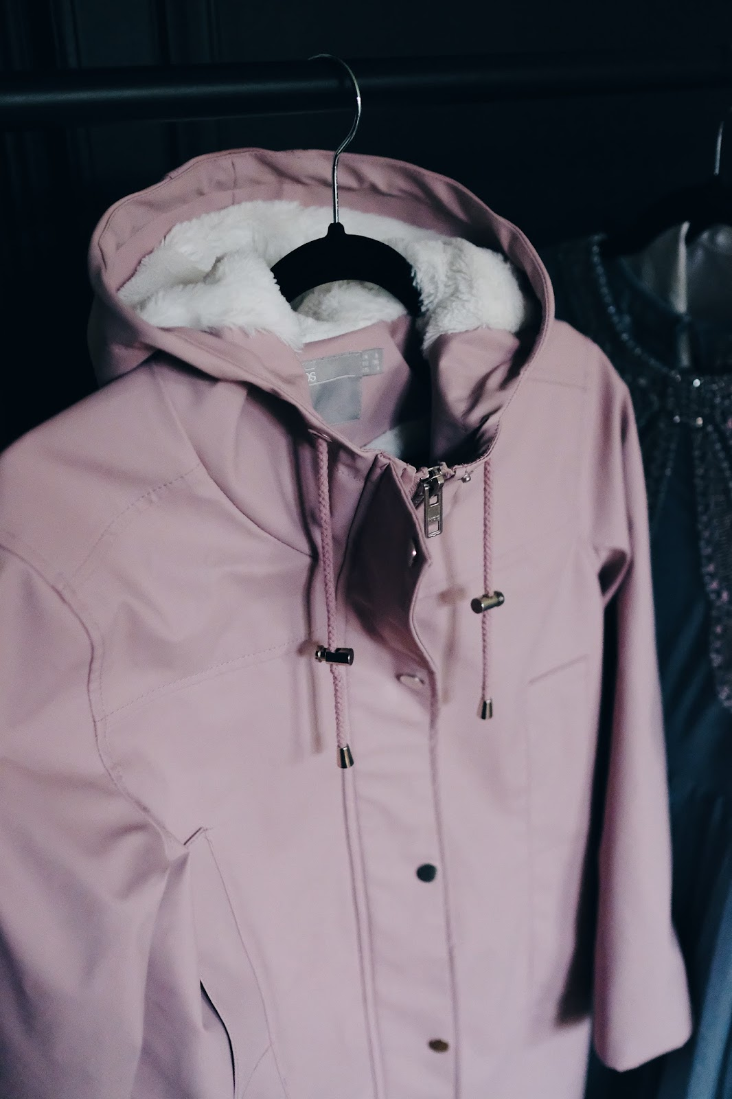 blush pink raincoat