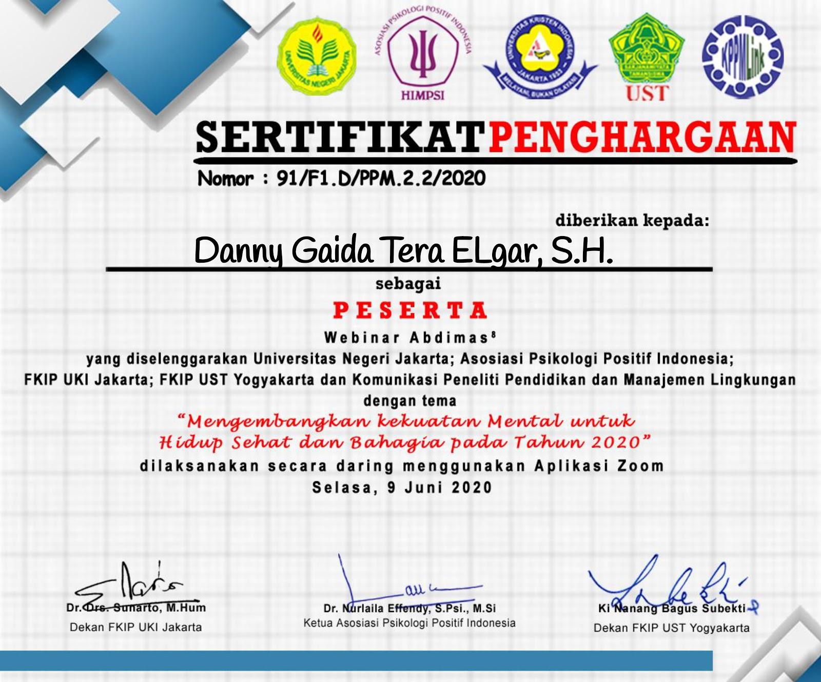"""Piagam Penghargaan Asosiasi Psikologi Positif Indonesia """"Mengembangkan Kekuatan Mental untuk Hidup Sehat dan Bahagia pada Tahun 2020"""" (SELASA, 9 JUNI 2020)"""