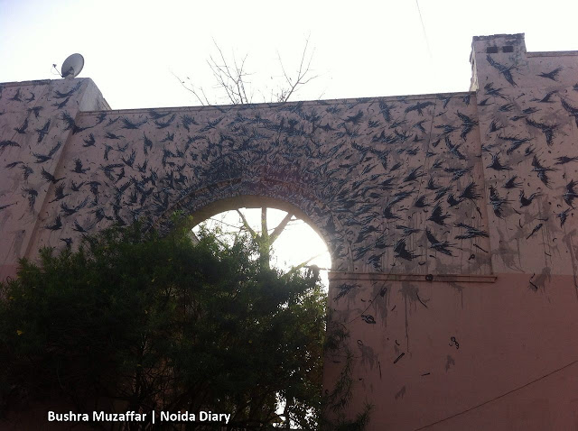 Noida Diary: Beautiful Street Art of a Flock of Birds on this Gate at Lodhi Art District