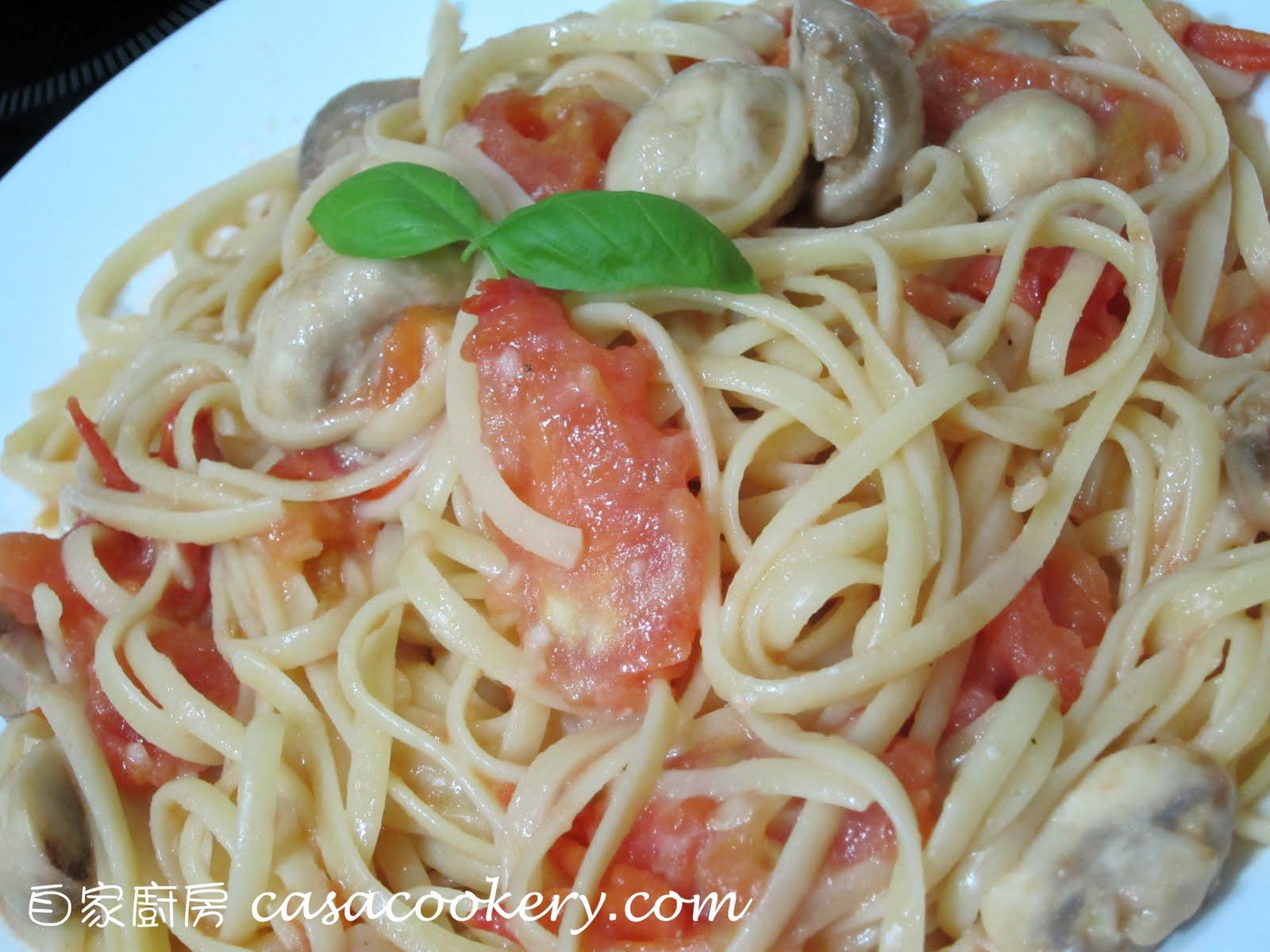 自家廚房 CasaCookery: 蕃茄蘑菇意粉