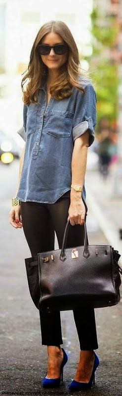 Ioanna's Notebook - 9 ways to style a denim shirt. Outfit inspiration and shopping picks