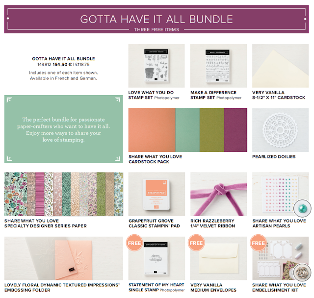 This image shows all the products that are included in the Share What You Love 'Gotta Have It All' bundle by Stampin' Up!