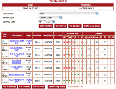Single view with all train and classes between source and destination