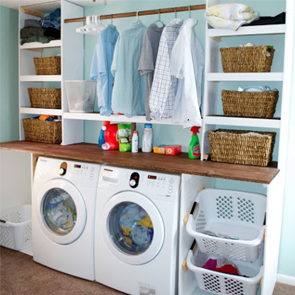 diy home sweet home 10 ways to make your laundry room look amazing. Black Bedroom Furniture Sets. Home Design Ideas