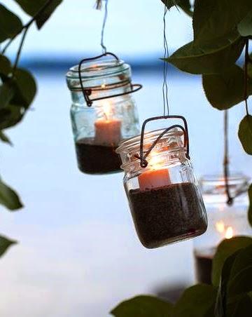 mason jar hanging lanterns filled with sand