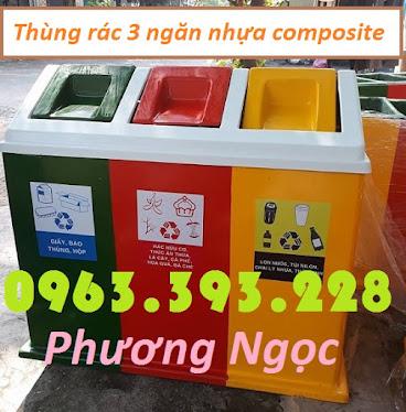 Thùng rác 3 ngăn phân loại rác, thùng rác 3 ngăn nhựa composite TR3N1