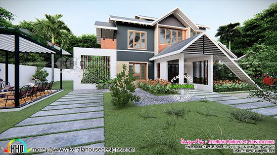 Traditional sloping roof house design