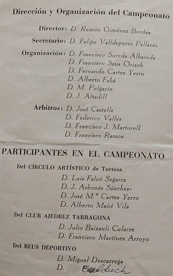 Organizadores y participantes del V Campeonato Provincial de Tarragona-1963
