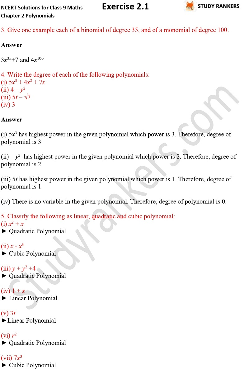 NCERT Solutions for Class 9 Maths Chapter 2 Polynomials Exercise 2.1 Part 2
