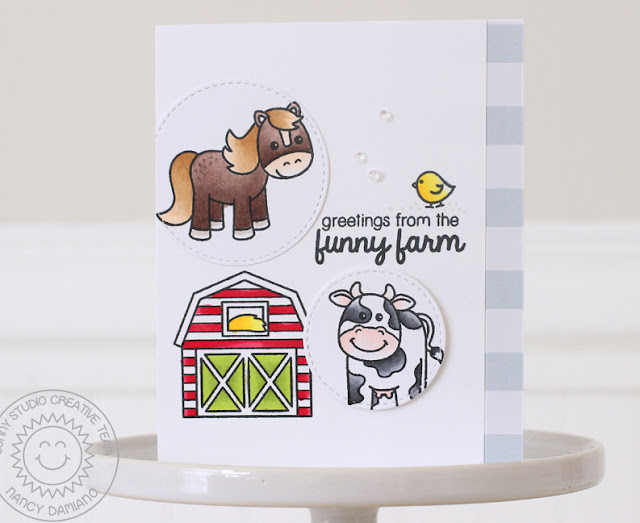 Sunny Studio Stamps: Barnyard Buddies Funny Farm Themed Card by Nancy Damiano