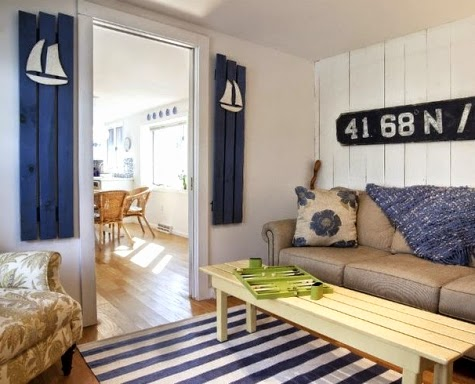 nautical shutters in living room