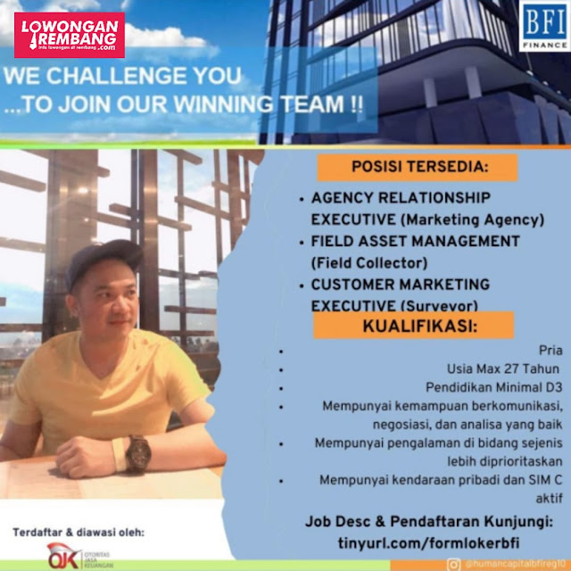 Tiga Lowongan Kerja Karyawan BFI Finance Rembang