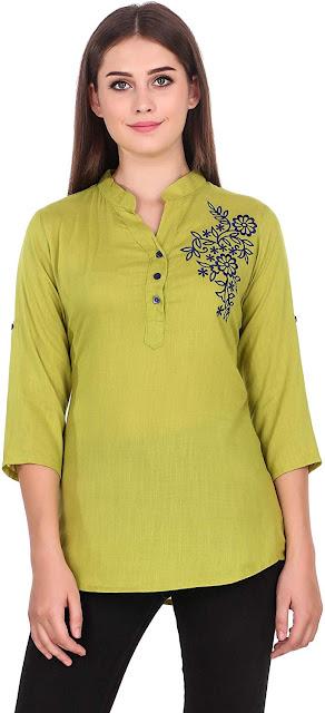 Elyraa Women Girls Top/Short Tunics Embroidered Cotton Top for Dailywear Casual Women/Girls Tops