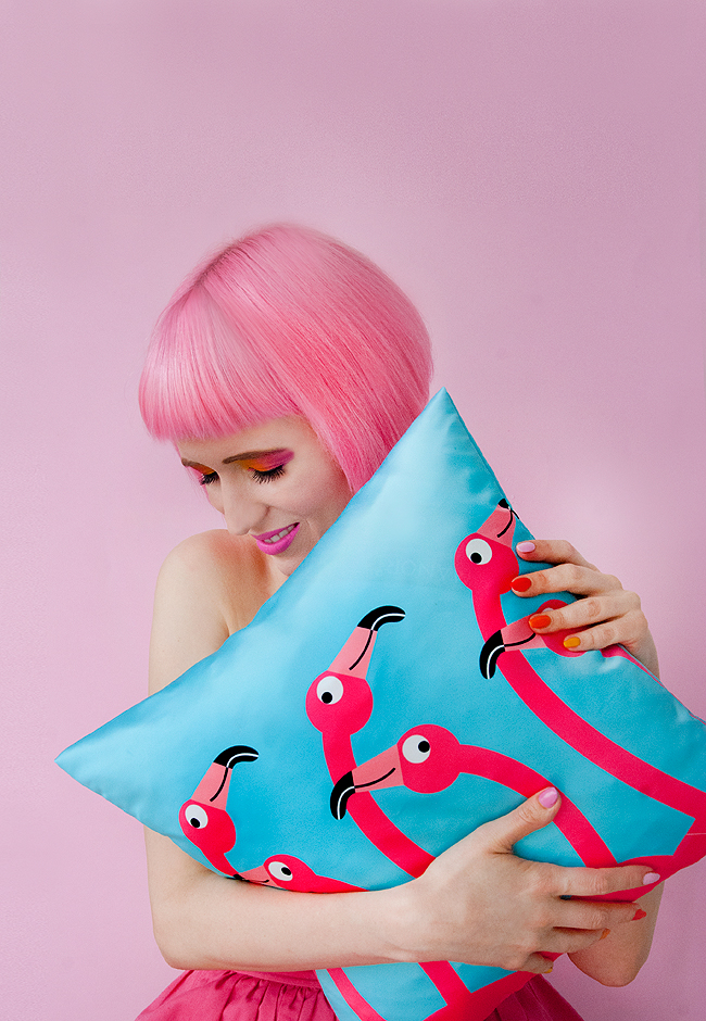 I LIKE PAPER, flamingo pillow, print