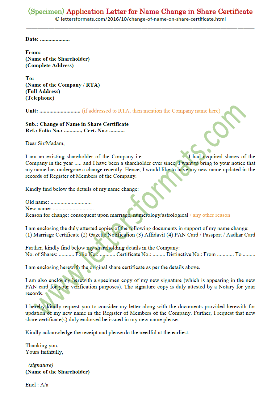 Request Letter Format For Change Of Name In Share Certificate